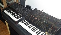 vintage analog synths + drum machines + samplers + Rhodes + Mellotron