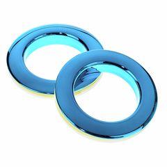 """Bass Drum O's 2"""" Blue chrome round HCB2"""