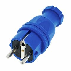 PCE Rubber Safety Plug EU Blue