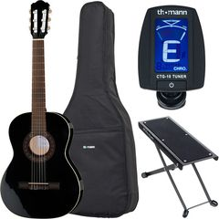 Thomann Classic Guitar 3/4 Blac Bundle