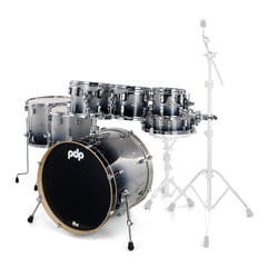 DW PDP CM7 Rock Silver to Black